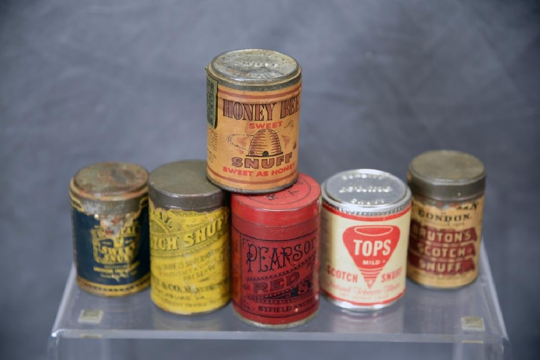 6 Tins of Snuff, Embossed Tops