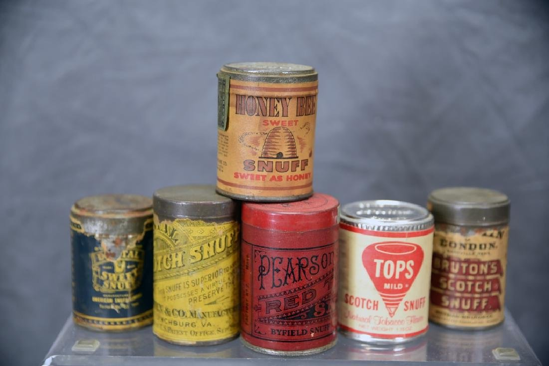 6 Tins of Snuff, Embossed Tops - 2