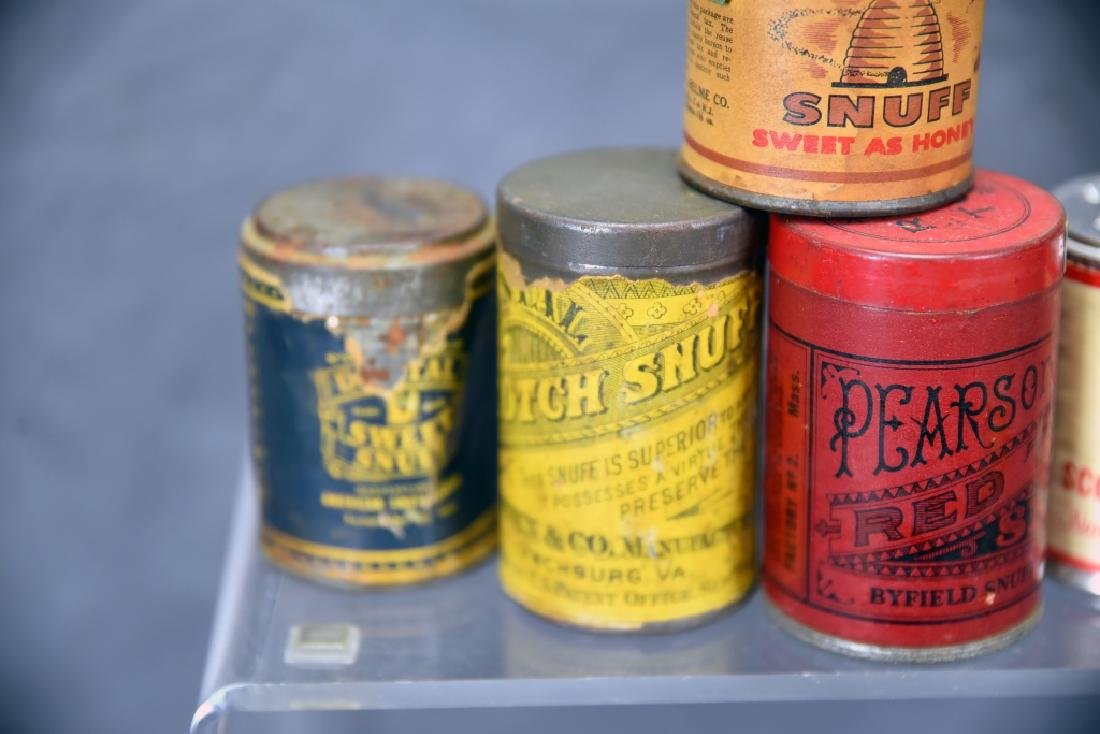 6 Tins of Snuff, Embossed Tops - 3