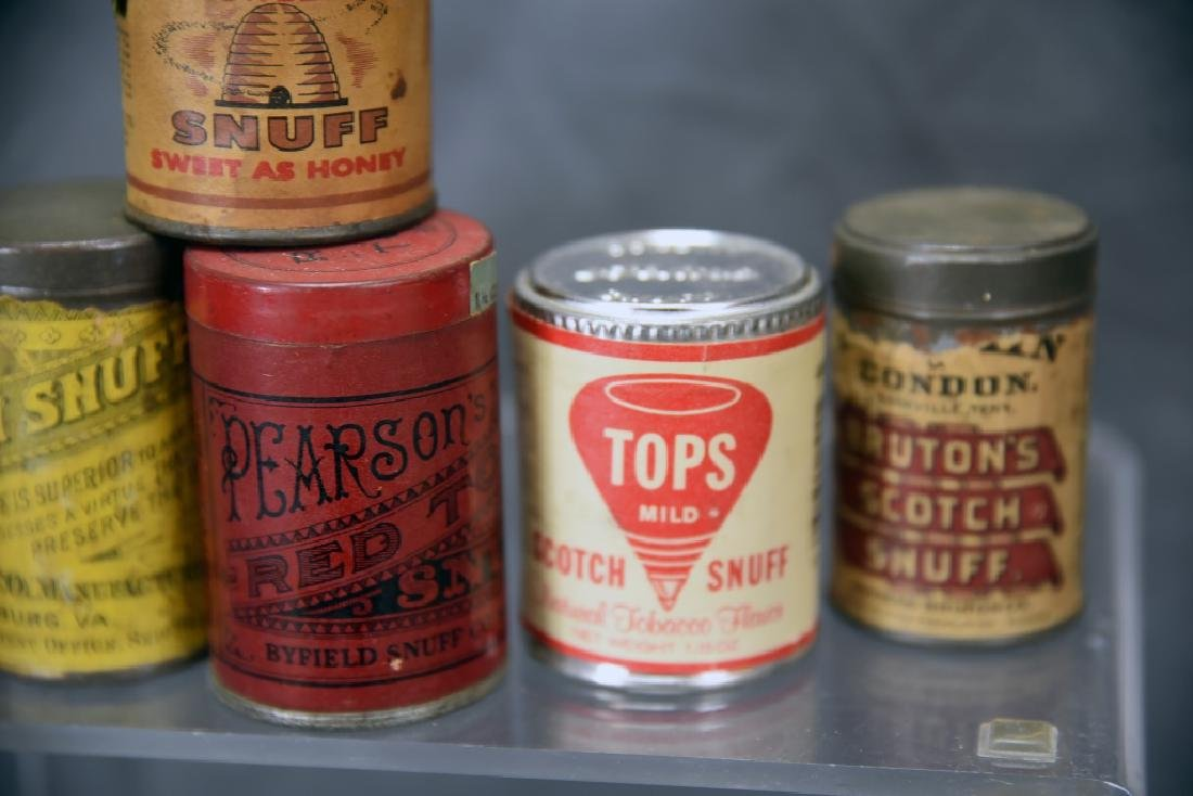 6 Tins of Snuff, Embossed Tops - 4