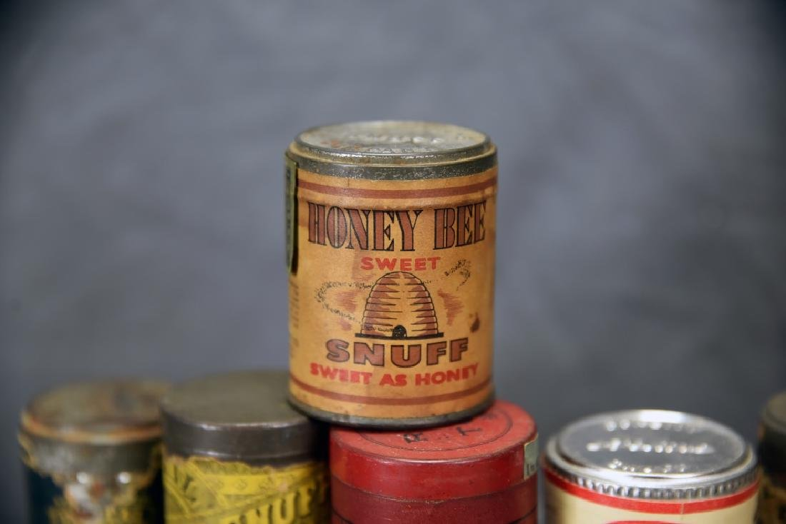 6 Tins of Snuff, Embossed Tops - 5