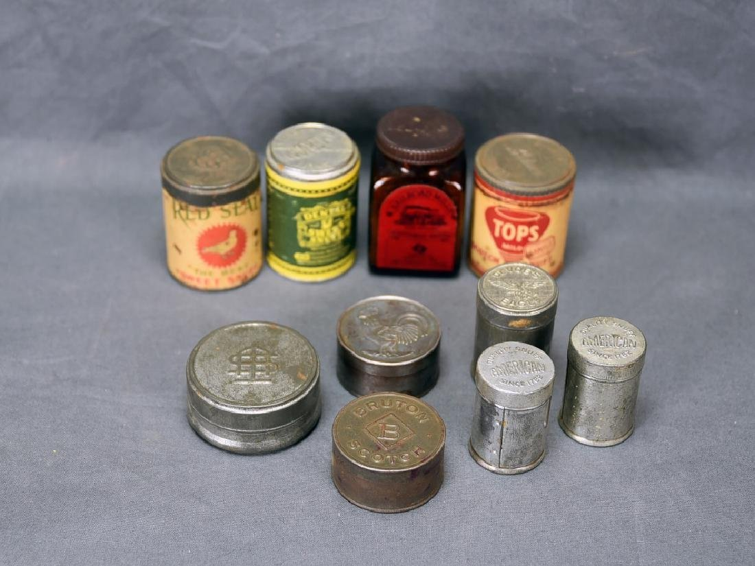 9 Snuff Tins and 1 Bottle