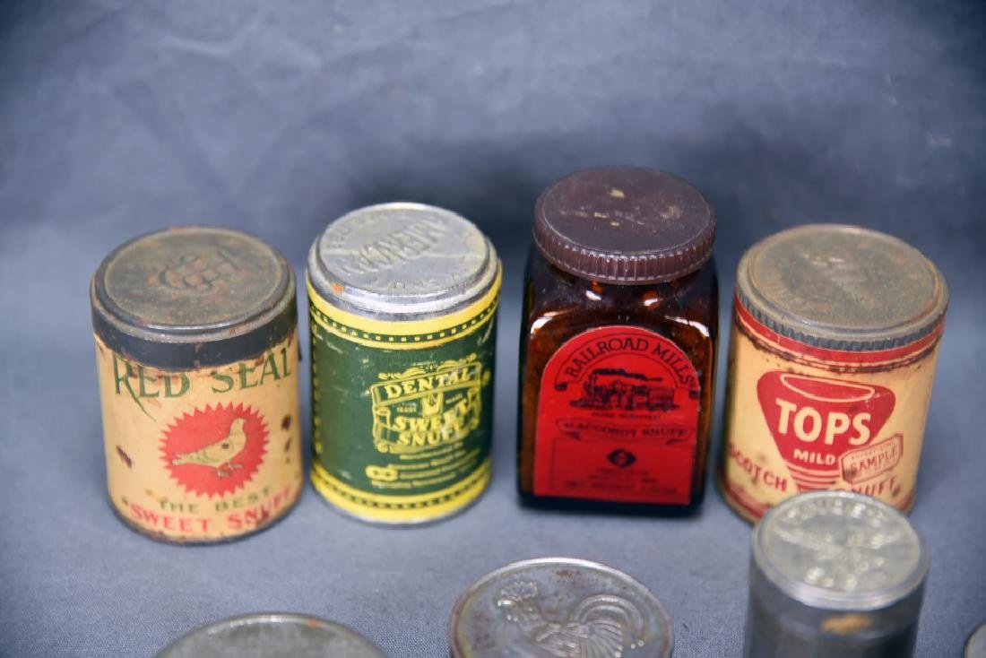9 Snuff Tins and 1 Bottle - 2