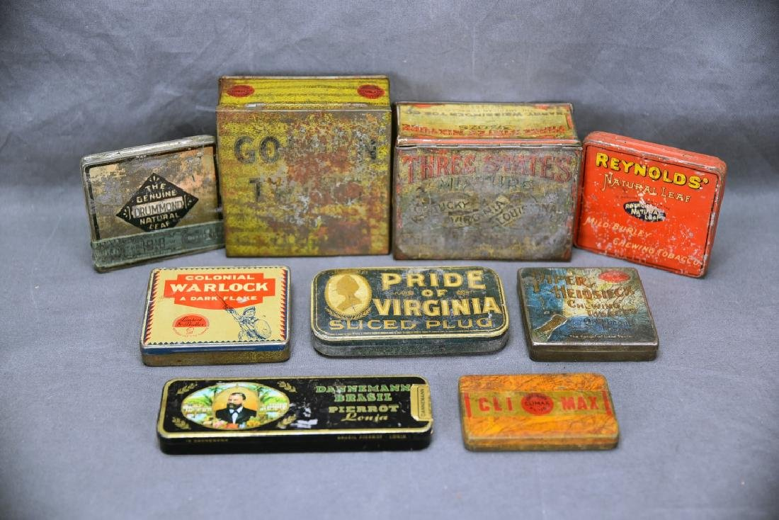 9 Tobacco and Snuff Tins