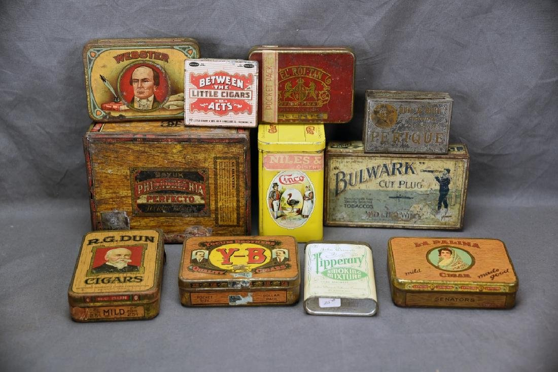 11 Tin Cigar Boxes