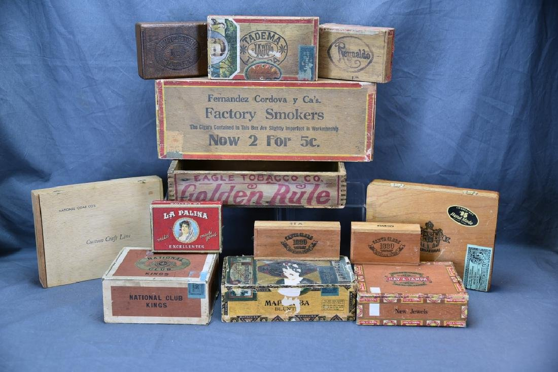 12 Wooden Cigar Boxes