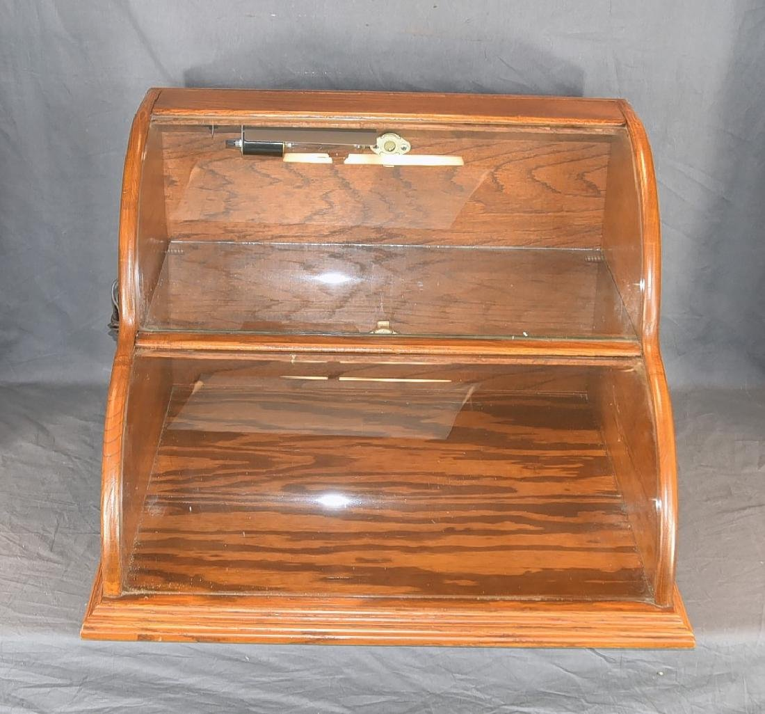 Oak and Curved Glass Double Tier Lighted Showcase