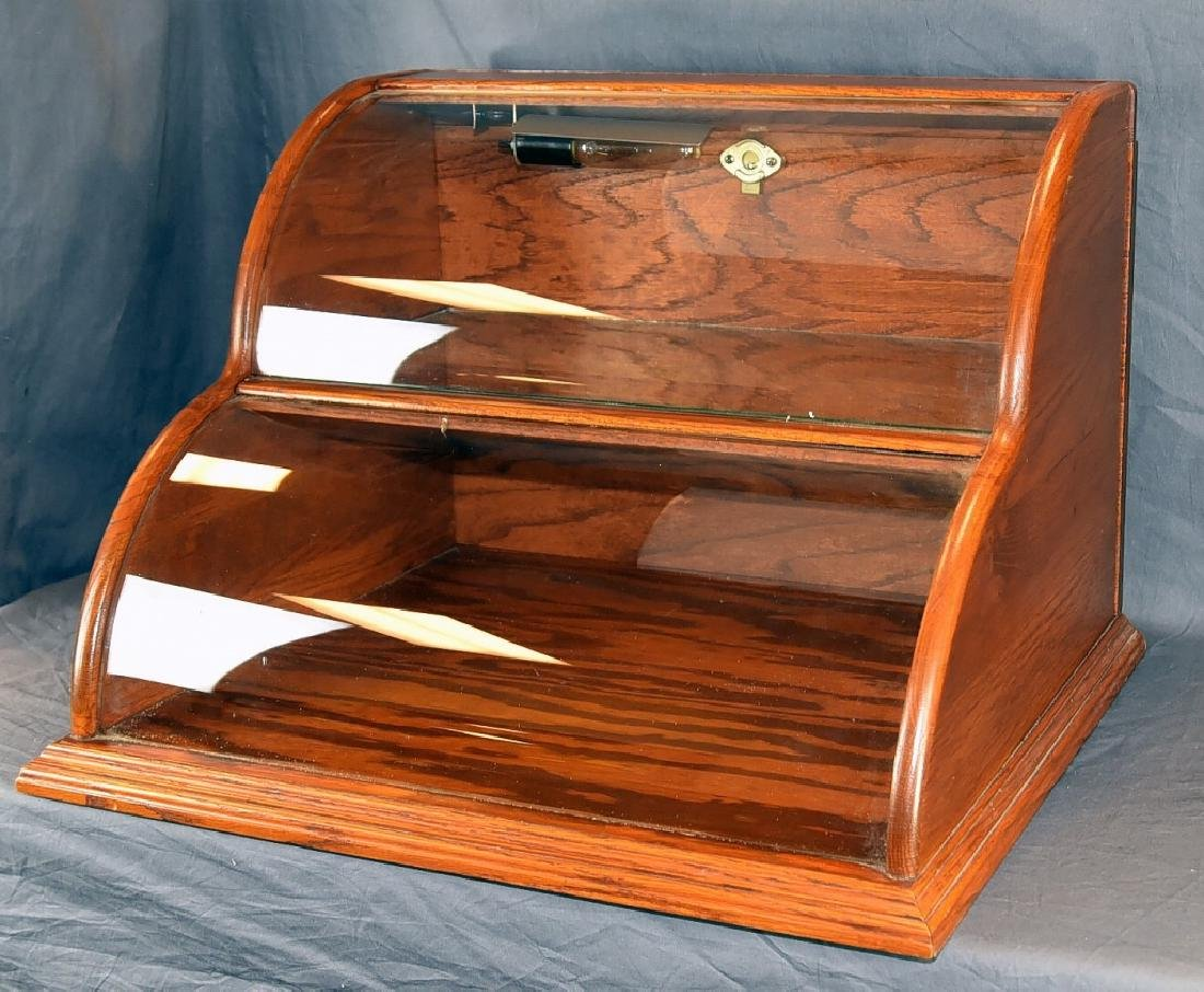 Oak and Curved Glass Double Tier Lighted Showcase - 3