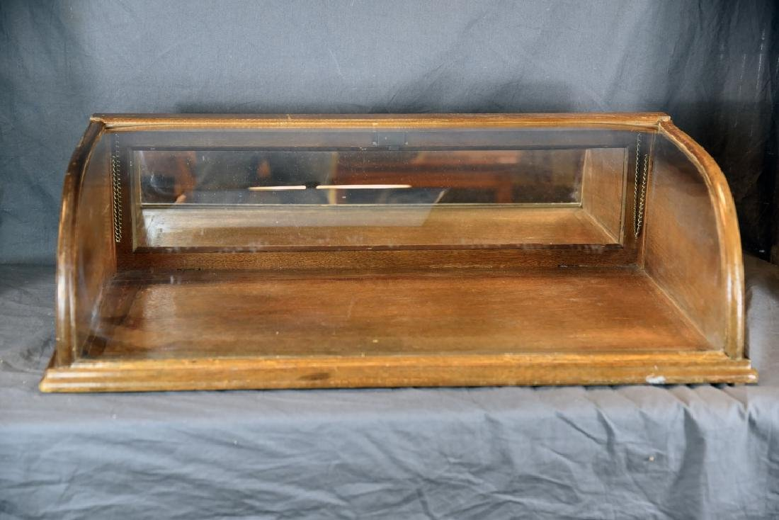 Curved Glass Oak Countertop Display Case