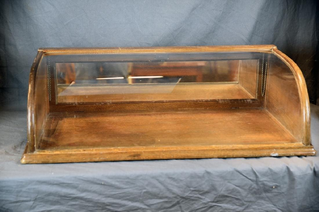 Curved Glass Oak Countertop Display Case - 2