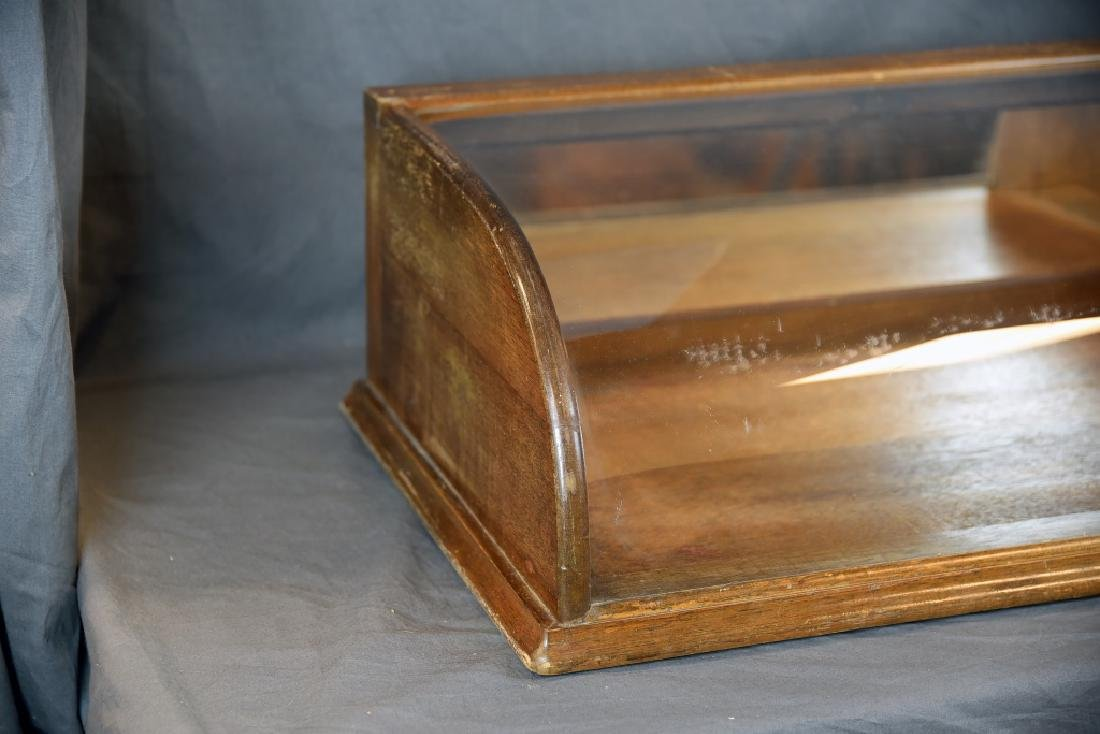 Curved Glass Oak Countertop Display Case - 3
