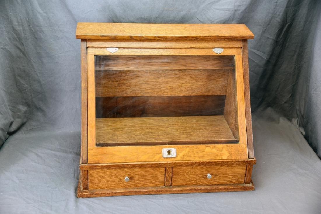 2 Drawer Slant Front Oak Countertop Display Case