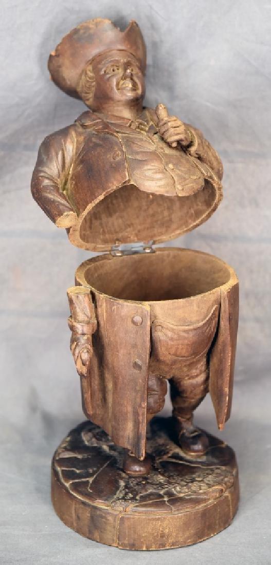 Hand Carved Wooden Figural Gentleman Humidor - 3