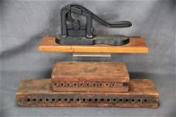 2 Wooden Cigar Molds 1 Tobacco Cutter