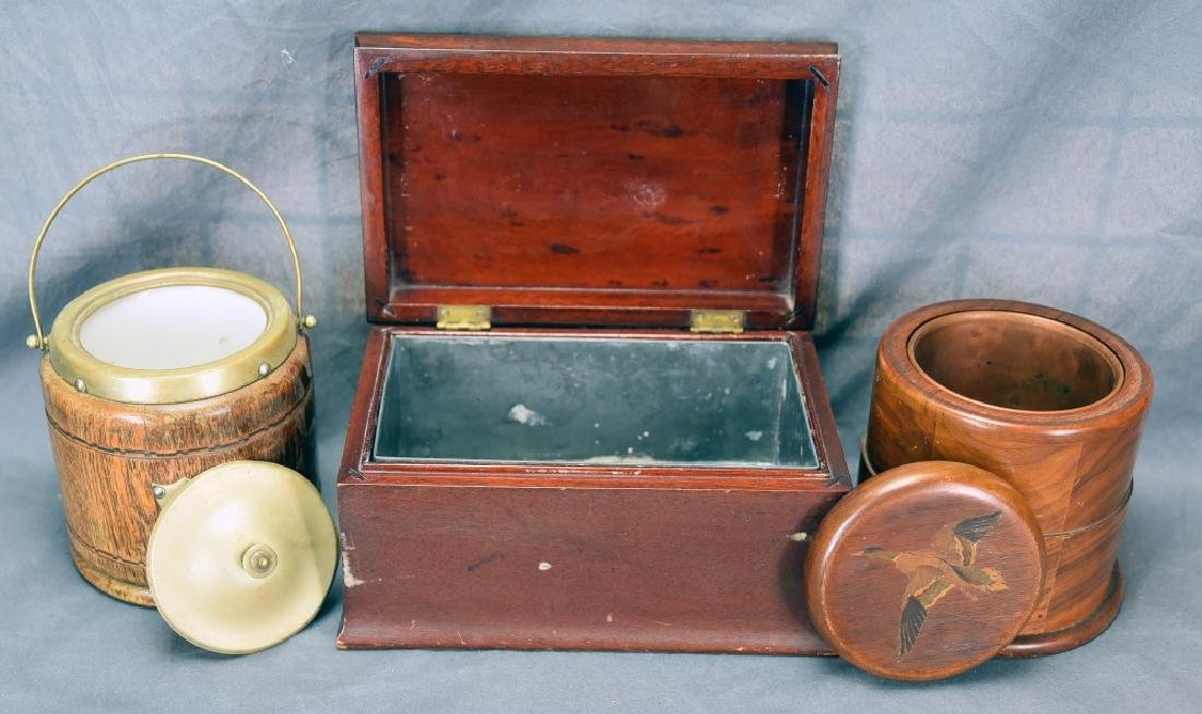3 Vintage Wooden Cigar Humidors - 2