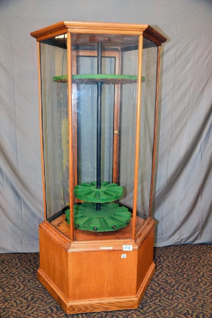 Pentagonal  Oak and Glass Store Gun Display