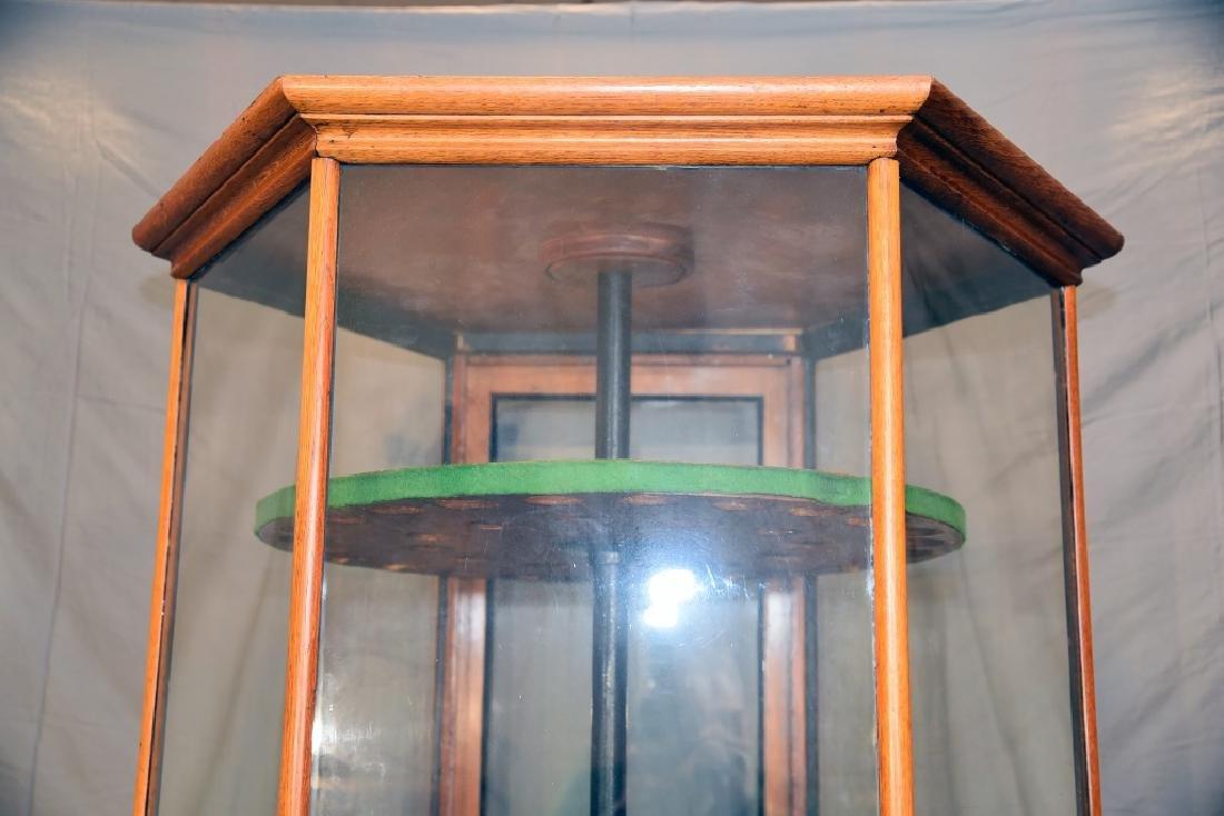 Pentagonal  Oak and Glass Store Gun Display - 3