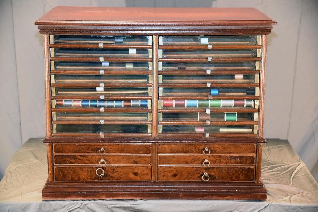 Mahogany 22 Drawer Spool Cabinet