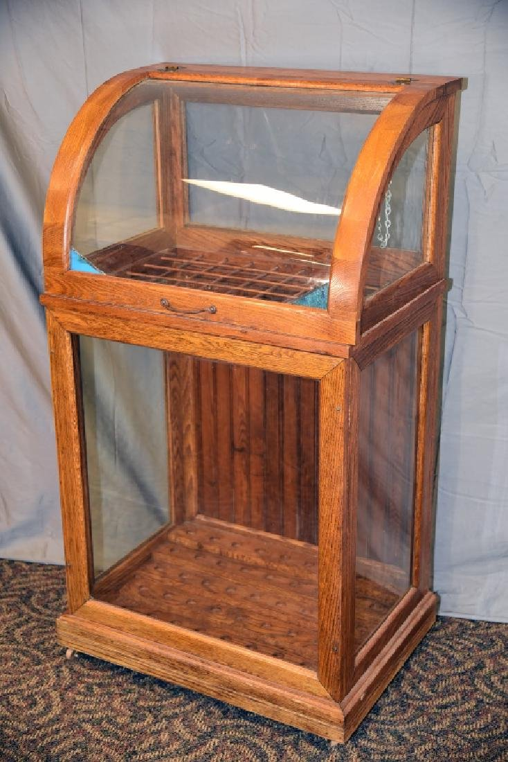 Small Oak Curved Glass Cane or Umbrella Display