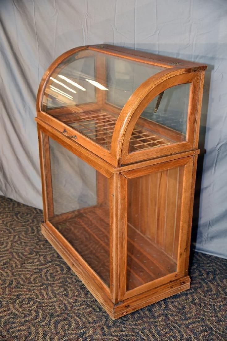 Large Oak Curved Glass Cane or Umbrella Display - 8