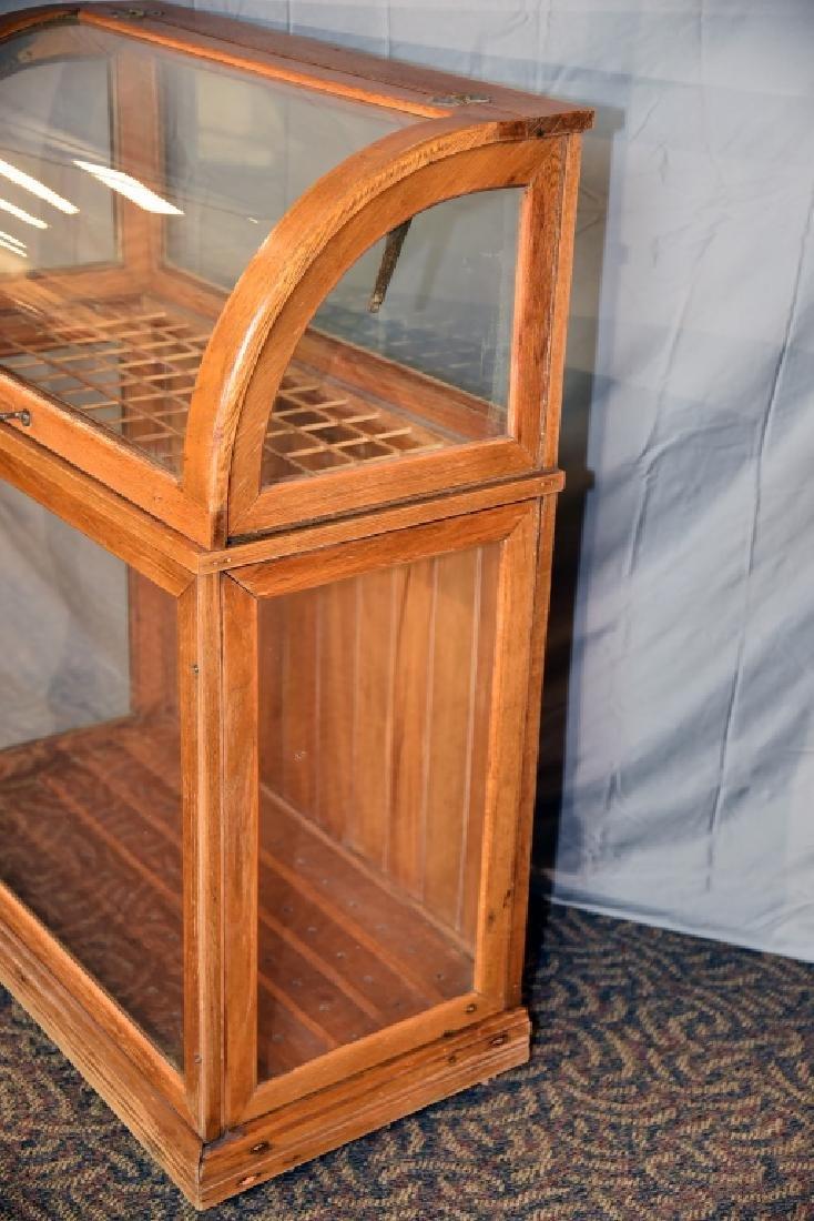Large Oak Curved Glass Cane or Umbrella Display - 9