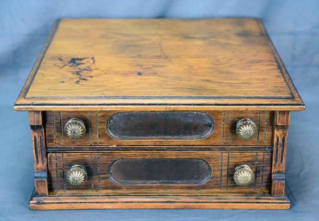 Small Early Oak 2 Drawer Spool Cabinet