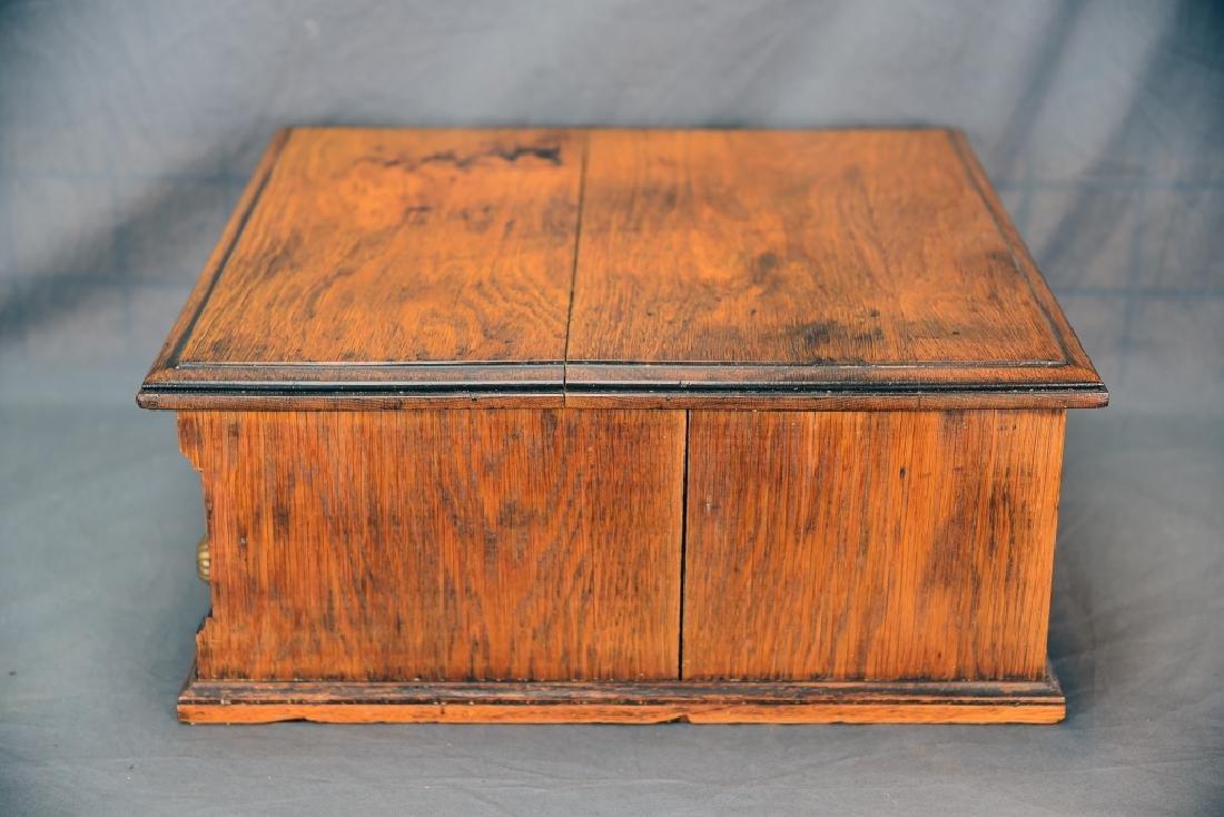 Small Early Oak 2 Drawer Spool Cabinet - 2