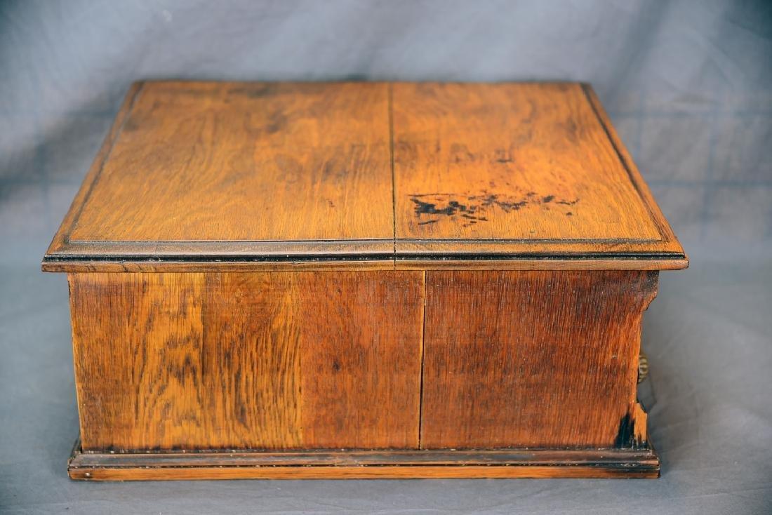 Small Early Oak 2 Drawer Spool Cabinet - 4