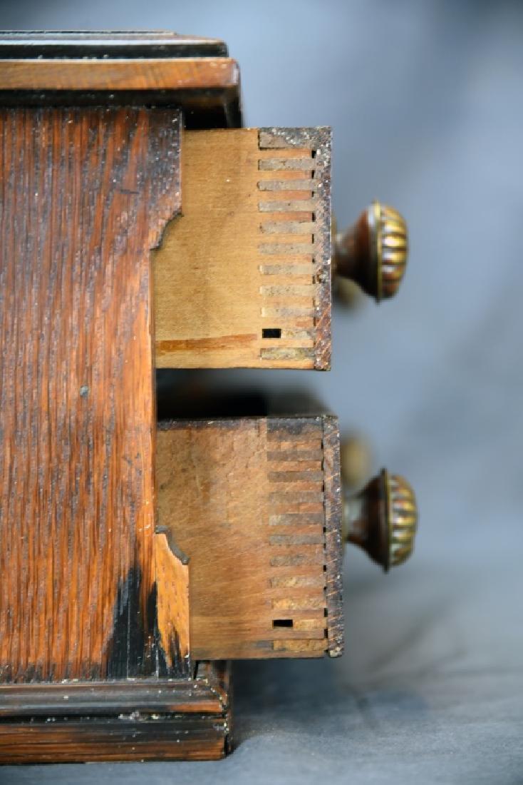 Small Early Oak 2 Drawer Spool Cabinet - 5