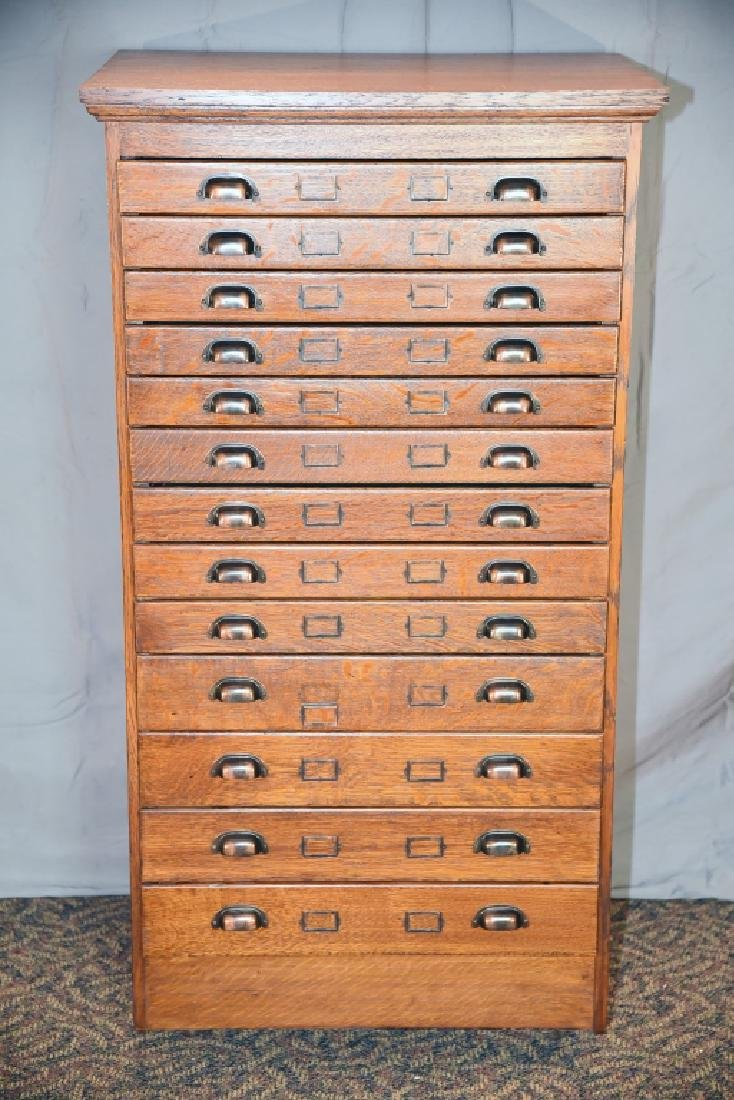 13 Drawer Quarter Sawn Oak flat file