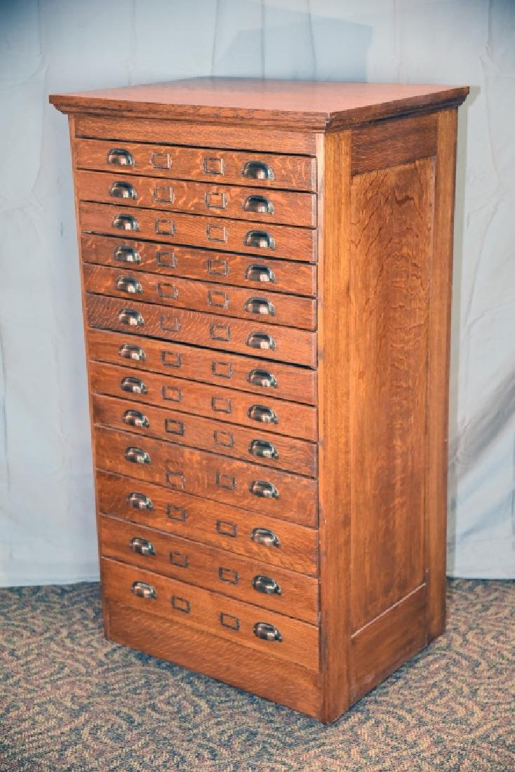 13 Drawer Quarter Sawn Oak flat file - 6