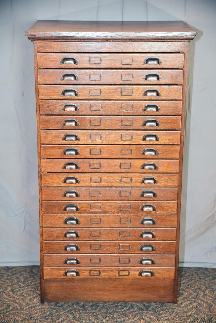 16 Drawer Quarter Sawn Oak flat file
