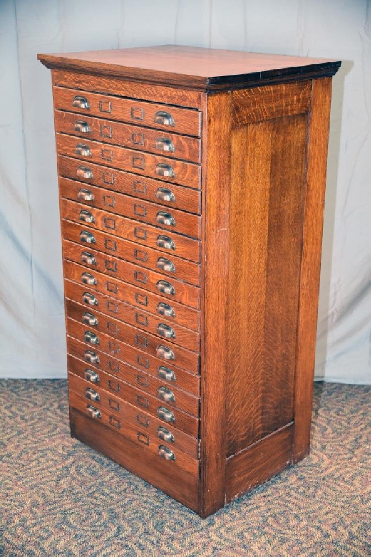16 Drawer Quarter Sawn Oak flat file - 6