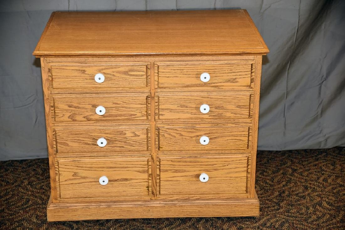 8 Drawer Oak Cabinet on Wheels