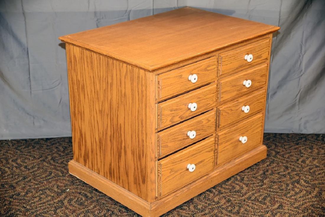 8 Drawer Oak Cabinet on Wheels - 2