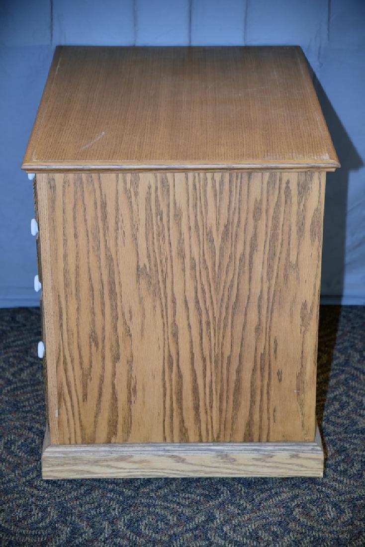 8 Drawer Oak Cabinet on Wheels - 5