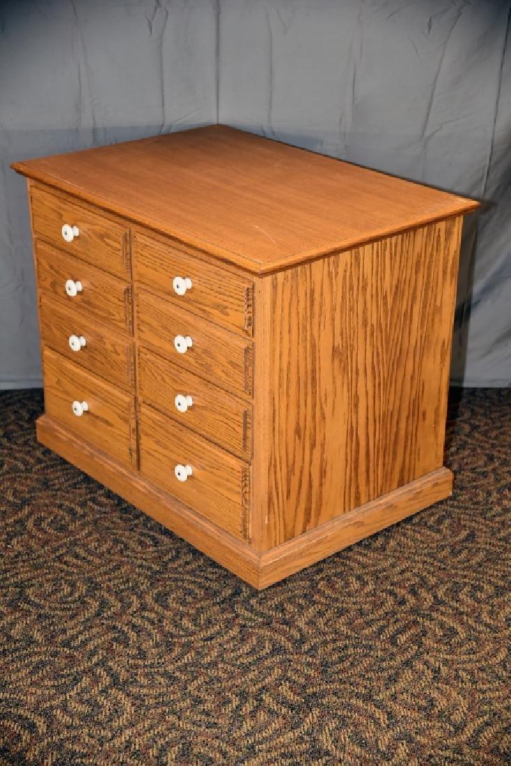 8 Drawer Oak Cabinet on Wheels - 6