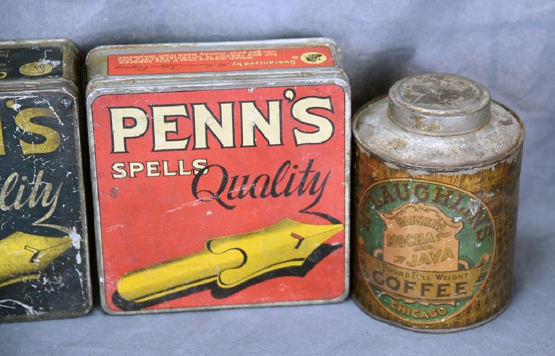 "3 Tin ""Penn's"" Pen Nib Boxes, Tin Coffee Can - 3"