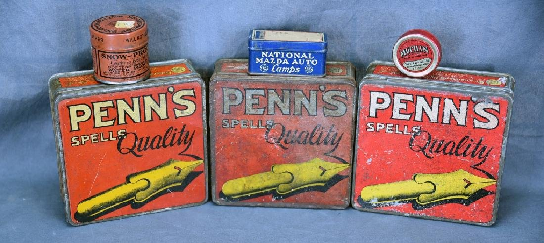 3 Tin Pen Nib Boxes, Mazda Lamp Tin and More
