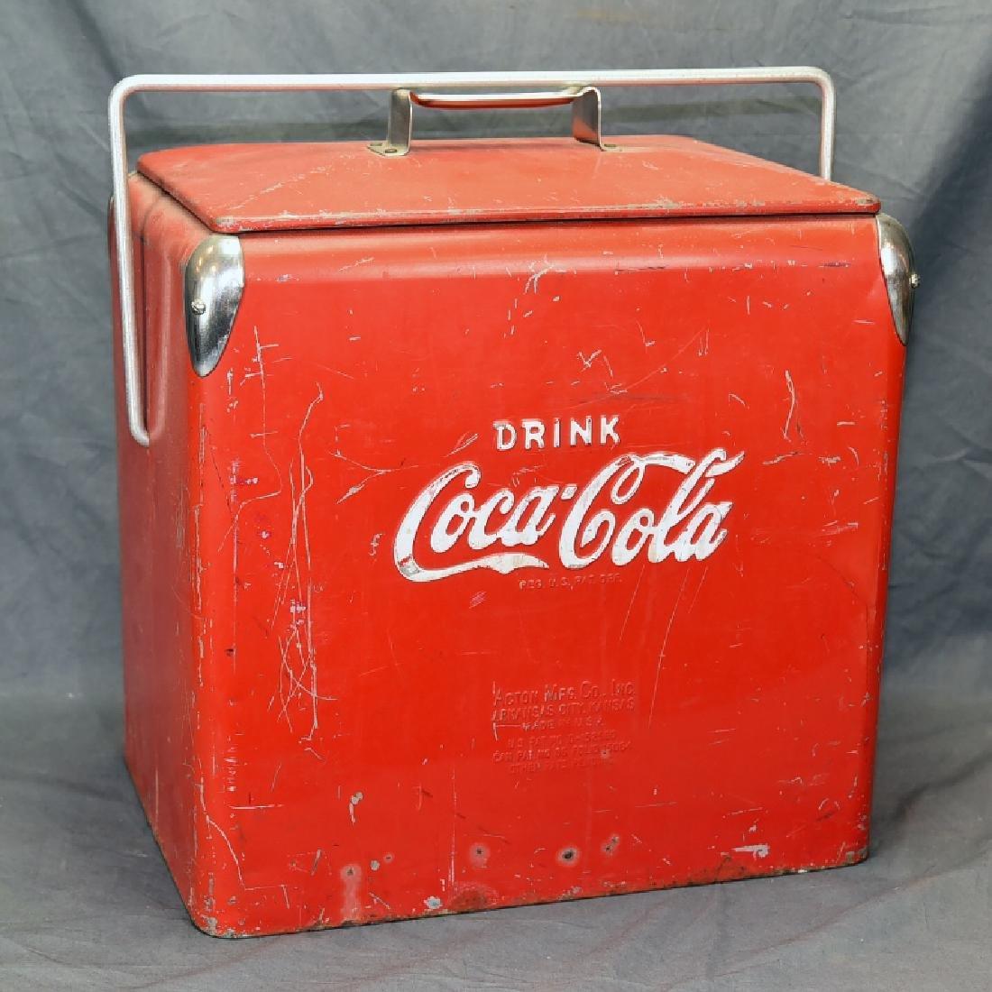 Red Metal Coca Cola Cooler Ice Chest