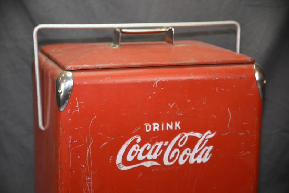 Red Metal Coca Cola Cooler Ice Chest - 2