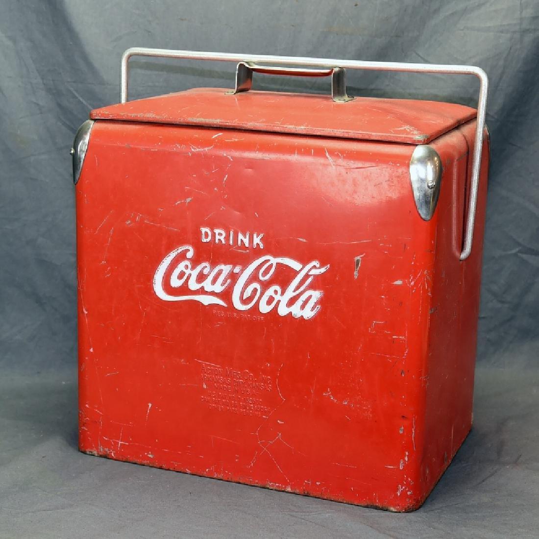 Red Metal Coca Cola Cooler Ice Chest - 4