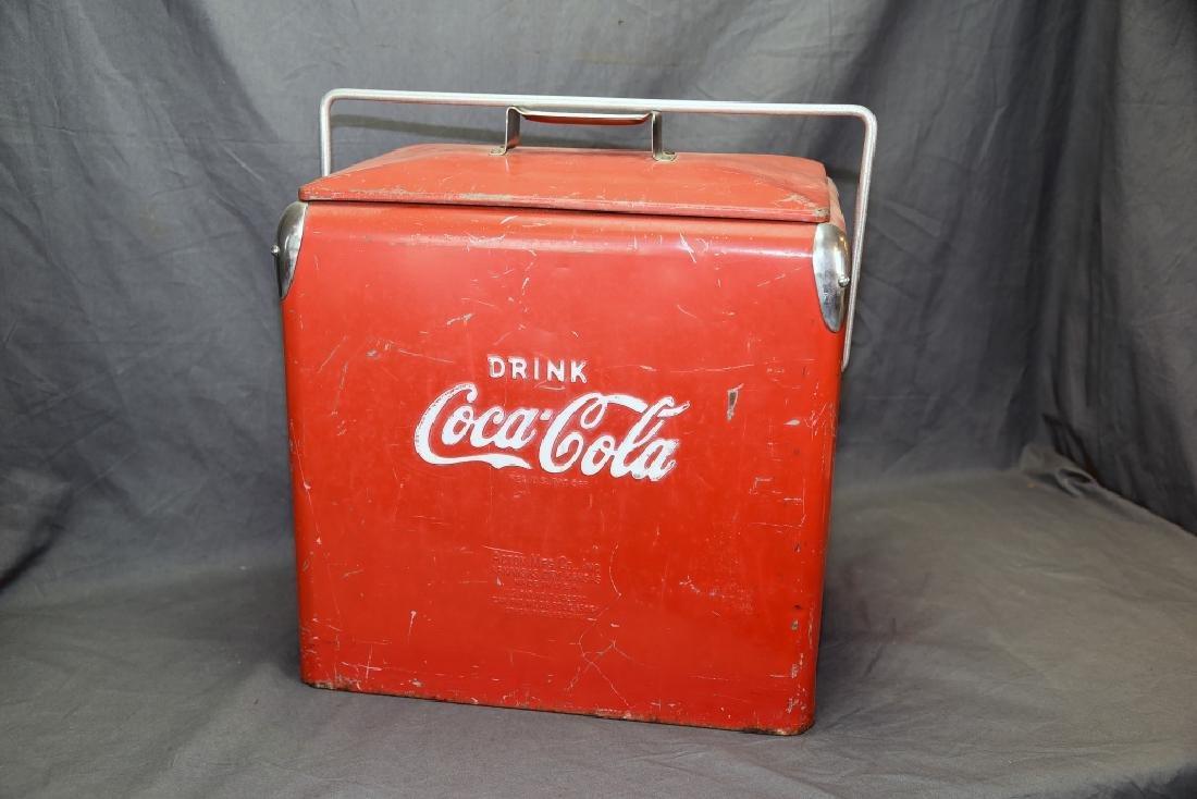 Red Metal Coca Cola Cooler Ice Chest - 5