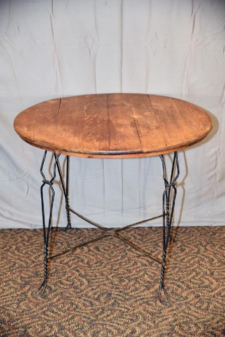 Round Bent Wire and Oak Ice Cream Parlor Table