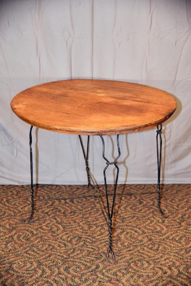 Round Bent Wire and Oak Ice Cream Parlor Table - 2