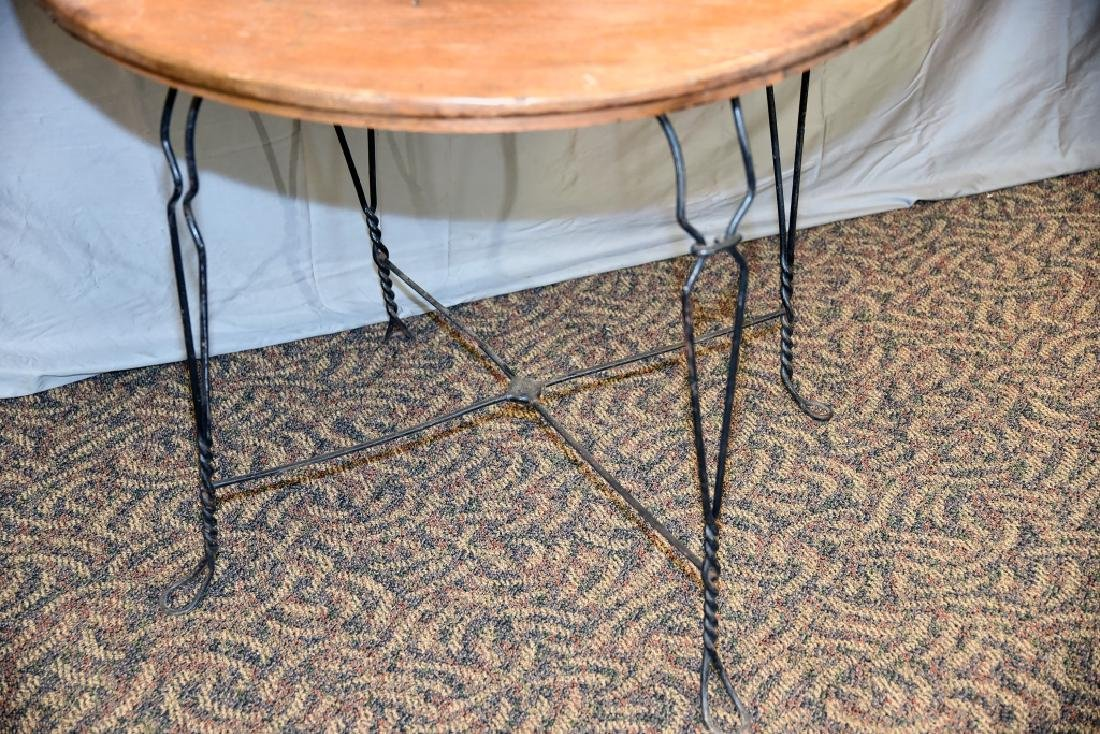 Round Bent Wire and Oak Ice Cream Parlor Table - 3