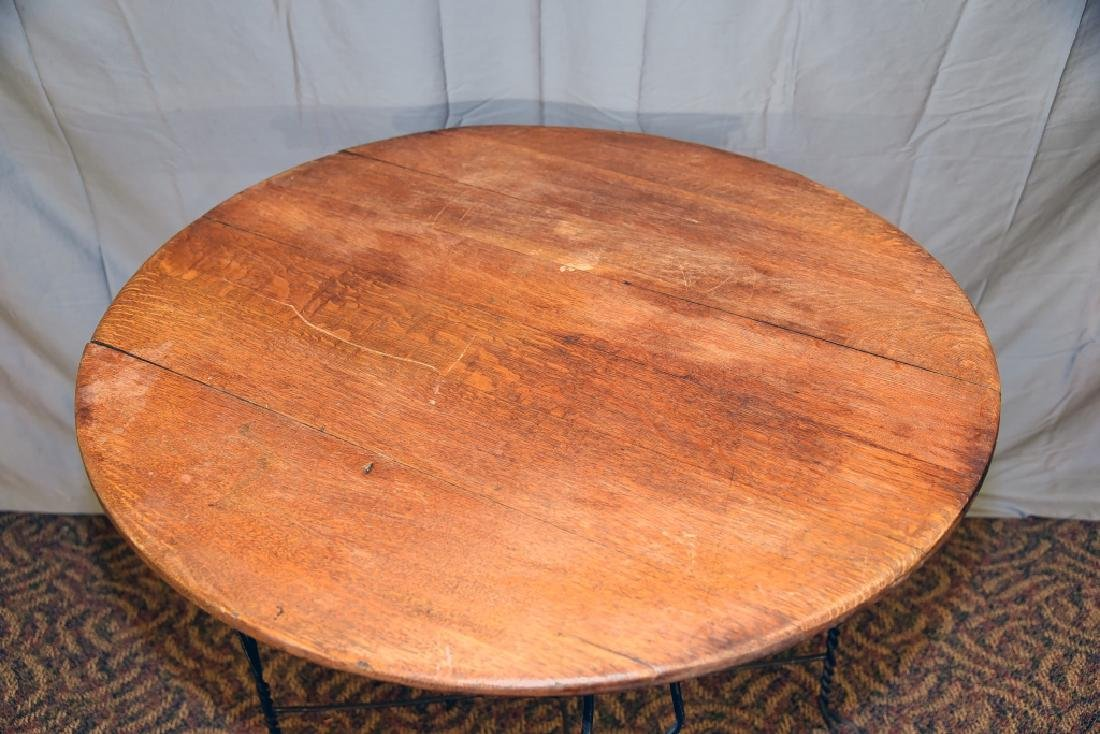 Round Bent Wire and Oak Ice Cream Parlor Table - 4