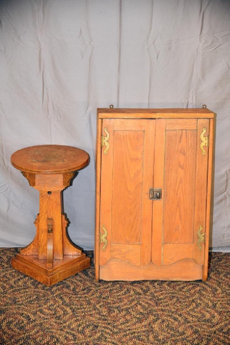 Oak Plant Stand, Ash 2 Door Hanging Cabinet