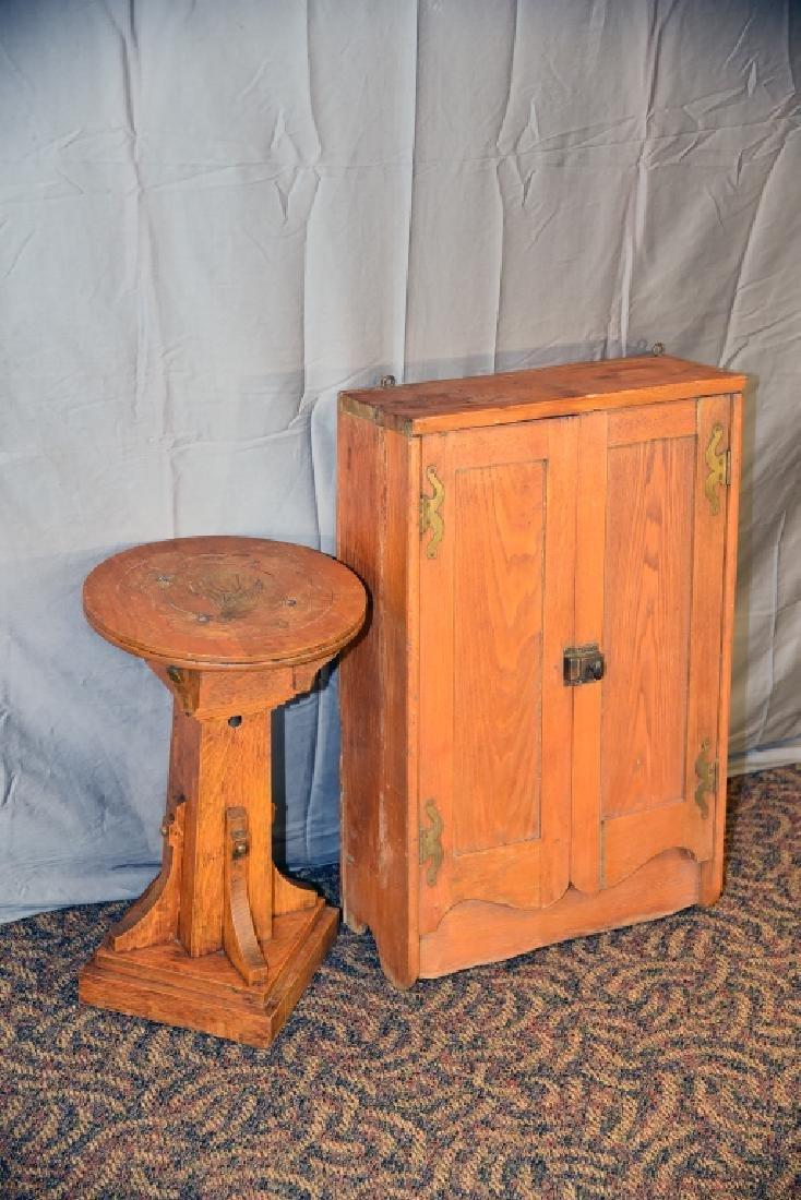 Oak Plant Stand, Ash 2 Door Hanging Cabinet - 2