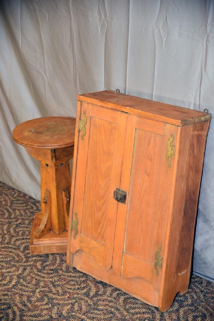 Oak Plant Stand, Ash 2 Door Hanging Cabinet - 3